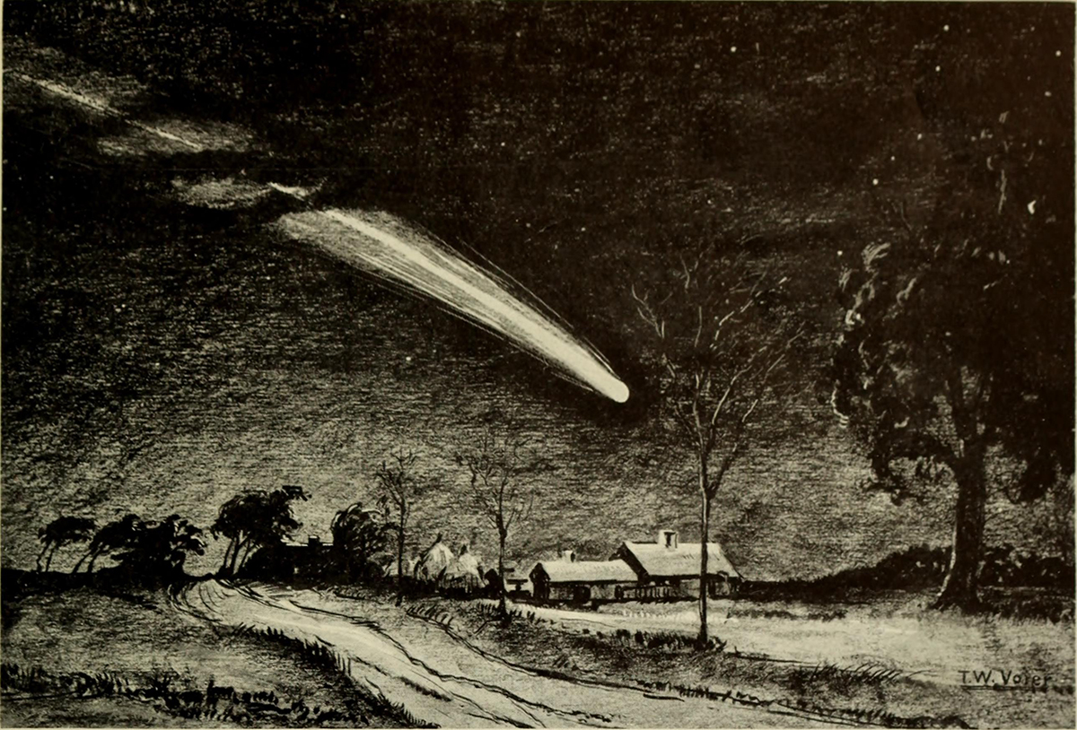 An illustration of the Great Comet of 1811 from a 19th century pamphlet. Credit: American Museum of Natural History, New York, NY.