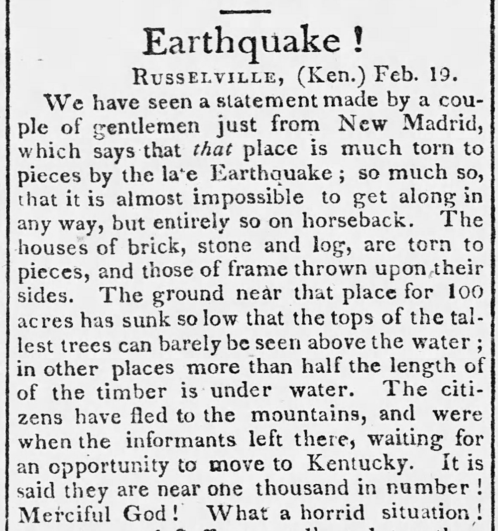 Stories about the New Madrid earthquakes appeared in newspapers across the country through the spring of 1812. Credit: From the Buffalo (NY) Gazette, April 1812.