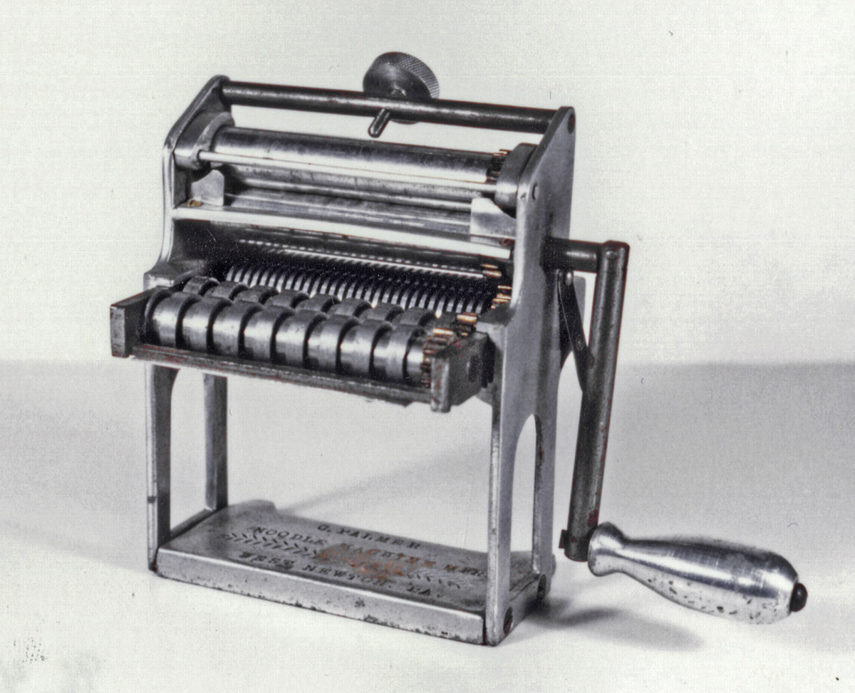Rolled pasta, such as noodles made with a chitarra or hand-crank pasta machine, is twice as light as extruded pasta, cooks in half the time, and absorbs more sauce. Gift of Rizzi DeFabo.