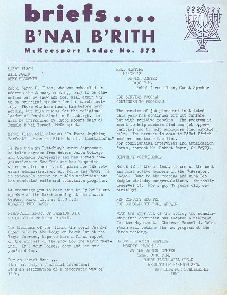B'nai B'rith McKeesport Lodge No. 573 Records, MSS 565, Rauh Jewish History Program & Archives at the Heinz History Center.