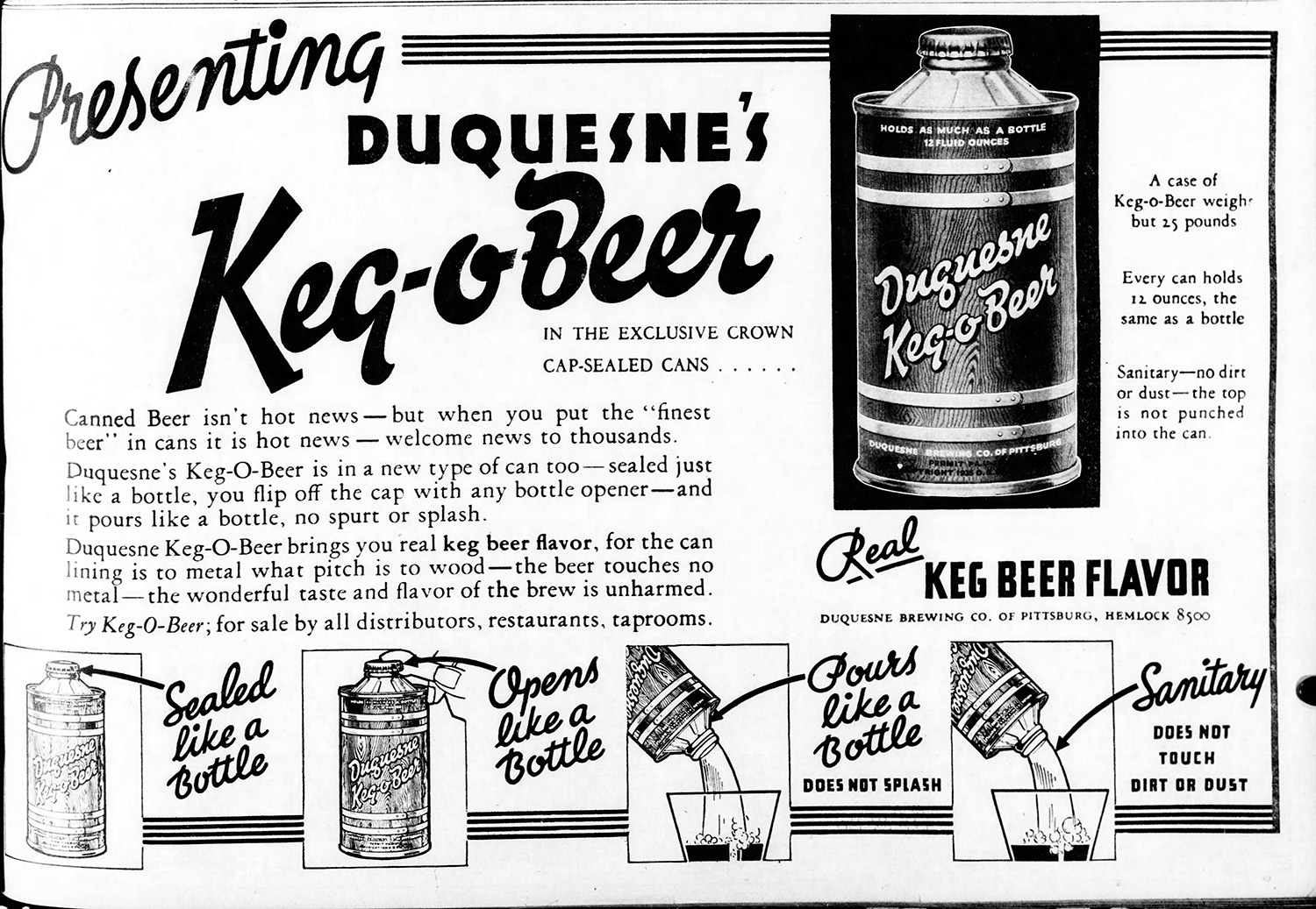 "Advertisement for Duquesne Brewing Company's ""Keg-O-Beer,"" 1935. The Pittsburgh Press, December 2, 1935."