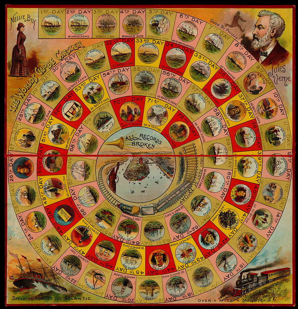 "The ""Round the World"" Nellie Bly board game. Courtesy of the University of Iowa Libraries, Iowa City, Iowa."