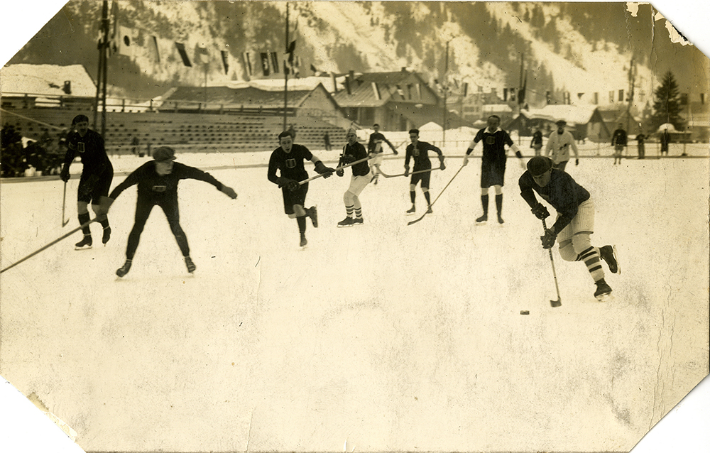 U.S. vs. Belgium on outdoor rink, Chamonix, France, Jan. 28, 1924. Courtesy of Frederick R. Favo.