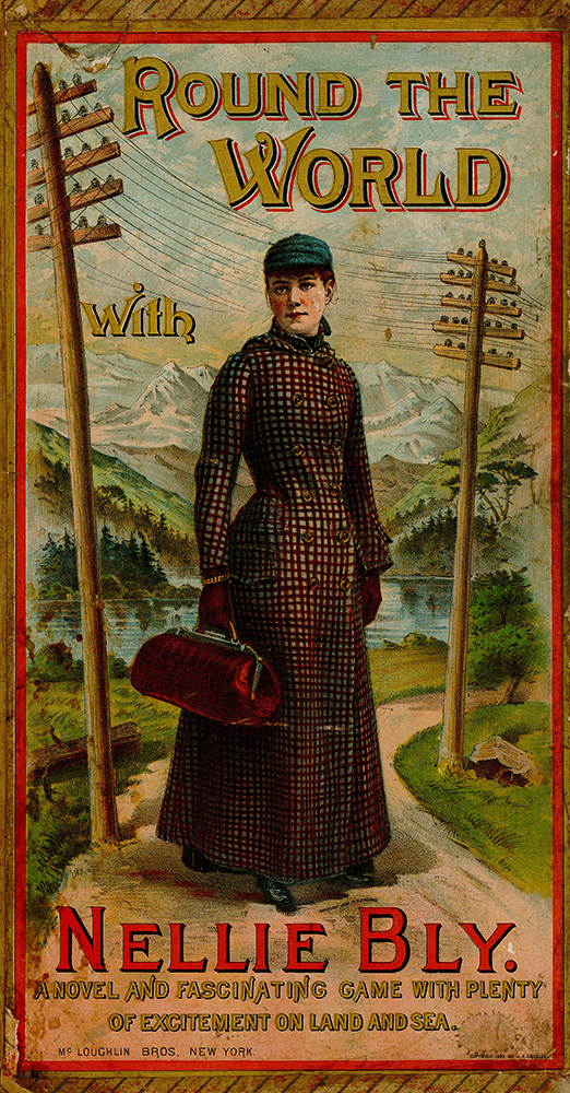 "Portrait of Nellie Bly on the ""Round the World"" board game. Courtesy of the University of Iowa Libraries, Iowa City, Iowa."