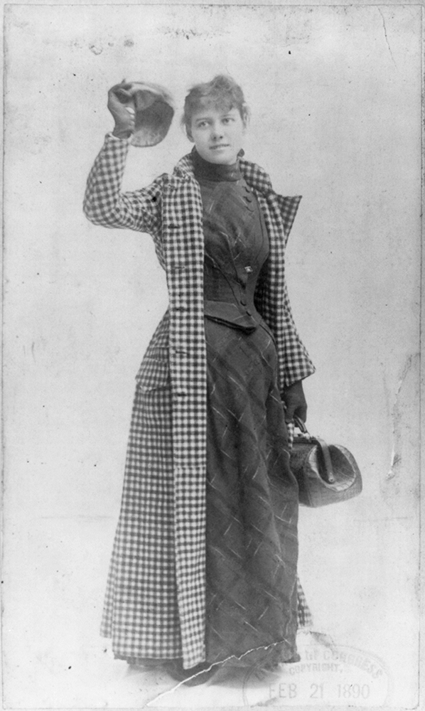 Nellie Bly waves her cap before traveling around the world in 72 days. Courtesy of the Library of Congress.