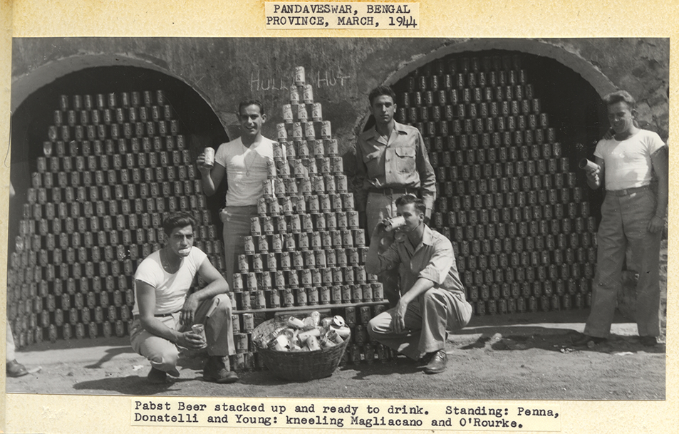 Soldiers with pyramids of Pabst Blue Ribbon Beer, China-Burma-India Theater, 1944. | Heinz History Center