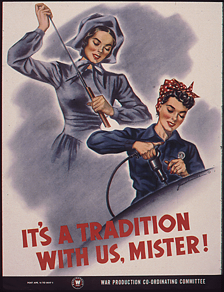 """It's a Tradition With Us, Mister!"" poster for the Office for Emergency Management, War Production Board, 1942-1943."