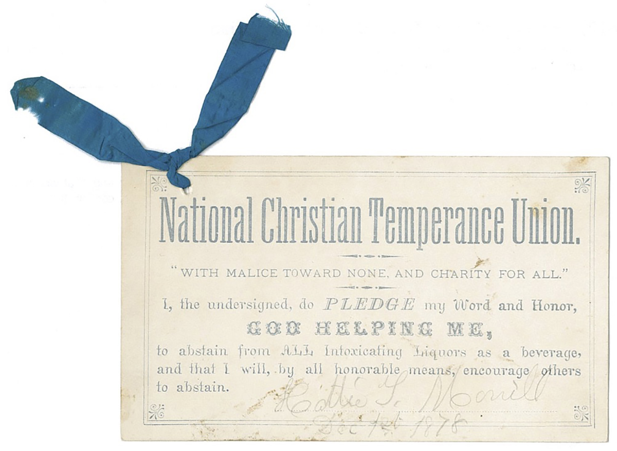 National Christian Temperance Union pledge card with blue ribbon. Murphy founded the NCTU and began the practice of giving blue ribbons to pledge signers while in Pittsburgh in 1876-1877.