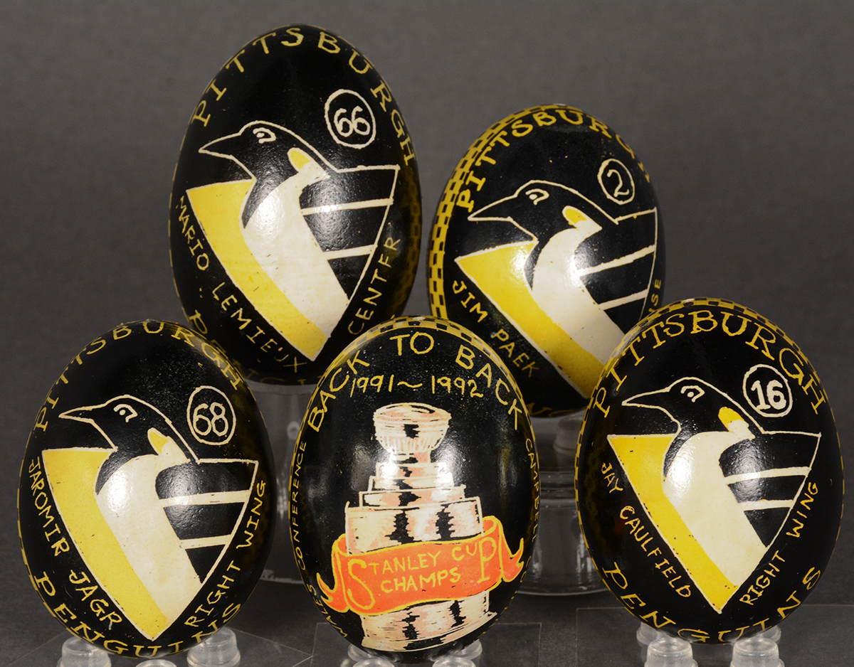 Lynda Ellis drew on her heritage to share the good luck and positive symbolism of pysanky with her sons' favorite team, the Pittsburgh Penguins. Gift of the Pittsburgh Penguins.