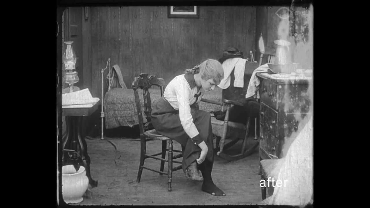 """Weber cast fellow Pittsburgher Mary MacLaren as Eva Meyer, the poor shop girl unable to afford a pair of shoes for herself in """"Shoes"""" (1916). The only surviving print was recently discovered in the Netherlands and restored by EYE Filmmuseum. Frame enlargement from print restored by EYE Filmmuseum, Amsterdam."""