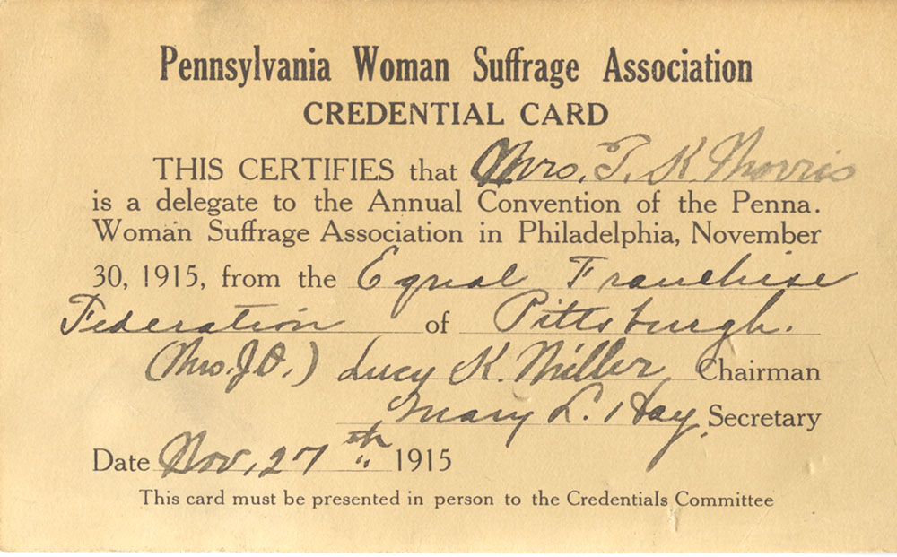Morris' delegate credentials card from the 1915 PWSA annual convention. Morris served as delegate at both the 1915 and 1917 state conventions.