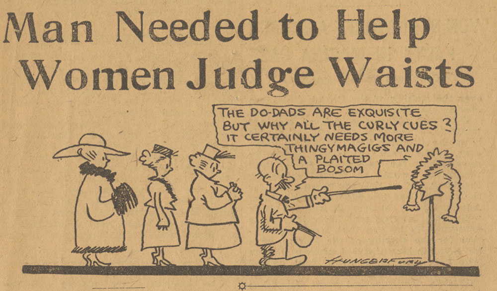 Pittsburgh Post-Gazette cartoonist Cy Hungerford's teasing response to the Federation's plan to include a man on the shirtwaist competition's jury of five.