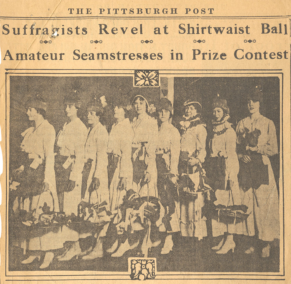Much of the ball's press coverage focused on its shirtwaist contest. From the Pittsburgh Post.