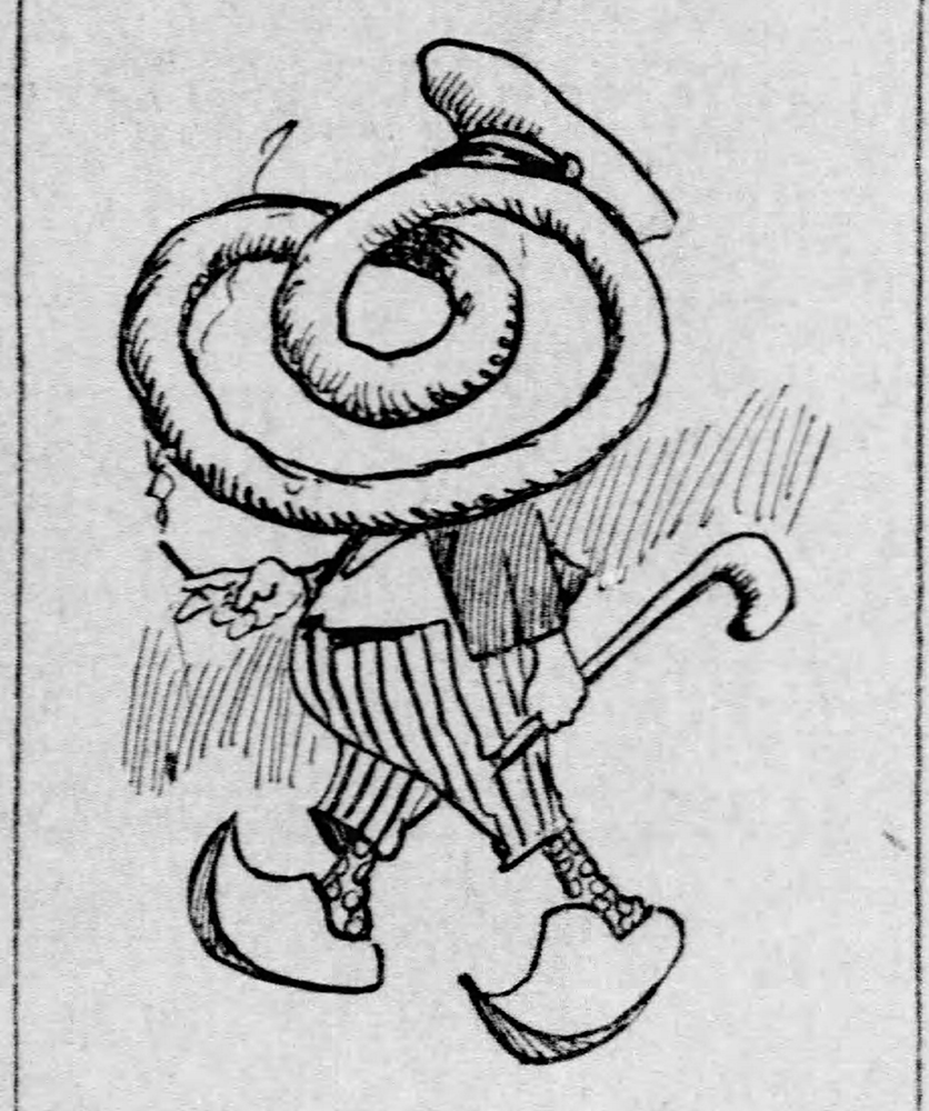 Pretzel head figure depicted in the costume of a Pennsylvania Dutchman of German descent, 1909. Pittsburgh Daily Post, January 26, 1909.