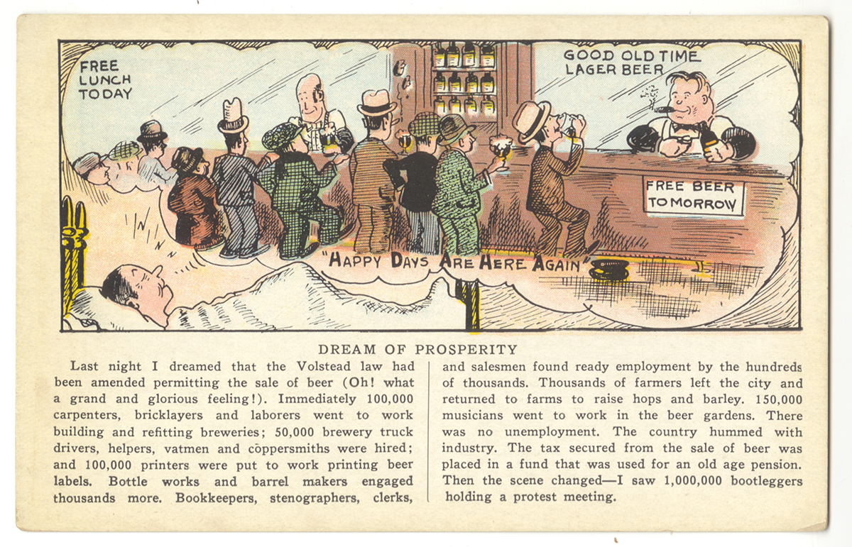"""Dream of Prosperity"" postcard, c. 1930."