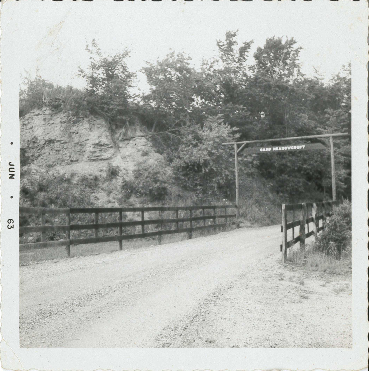 On July 28, 1959, the Camp Meadowcroft sign was hung up along the entrance road.