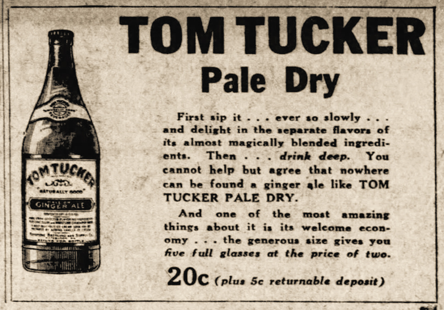 A 1929 ad for Tom Tucker ginger ale did not yet include the iconic man in top hat.