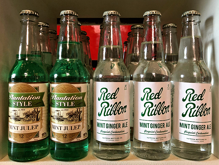 Natrona's Mint Julep and Mint Ginger Ale: same formula but with and without green food coloring. Available in the History Center museum shop, photo by Brian Butko.