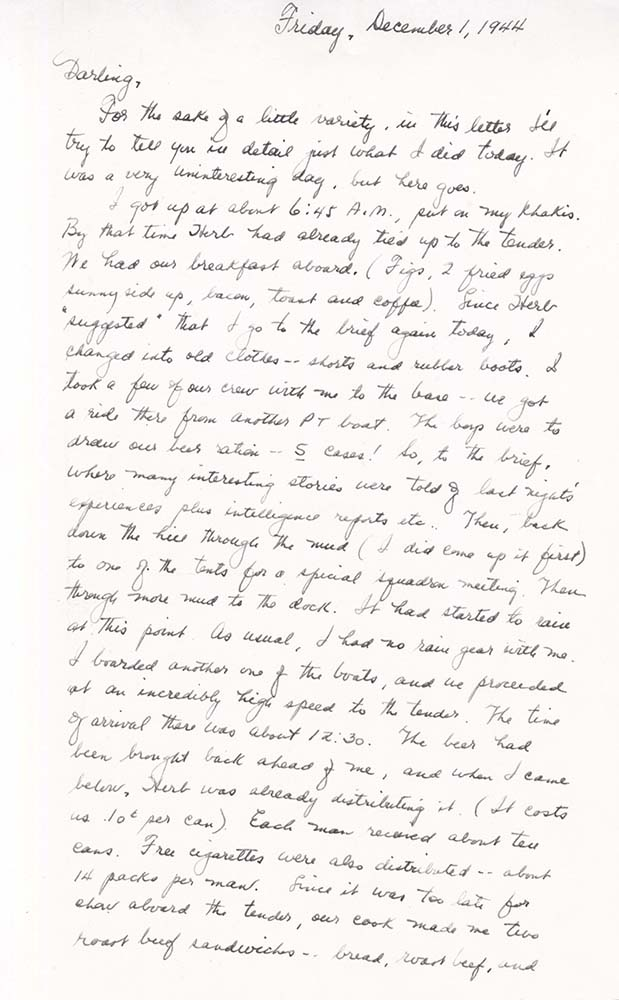 William Adelman's final letter to his wife, dated Dec. 1, 1944, page 1. William Ira Adelman Collection, Detre Library & Archives at the History Center.