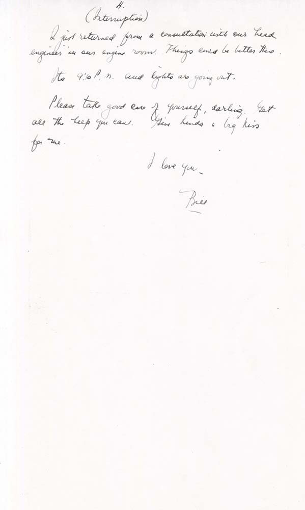 William Adelman's final letter to his wife, dated Dec. 1, 1944, page 4. William Ira Adelman Collection, Detre Library & Archives at the History Center.