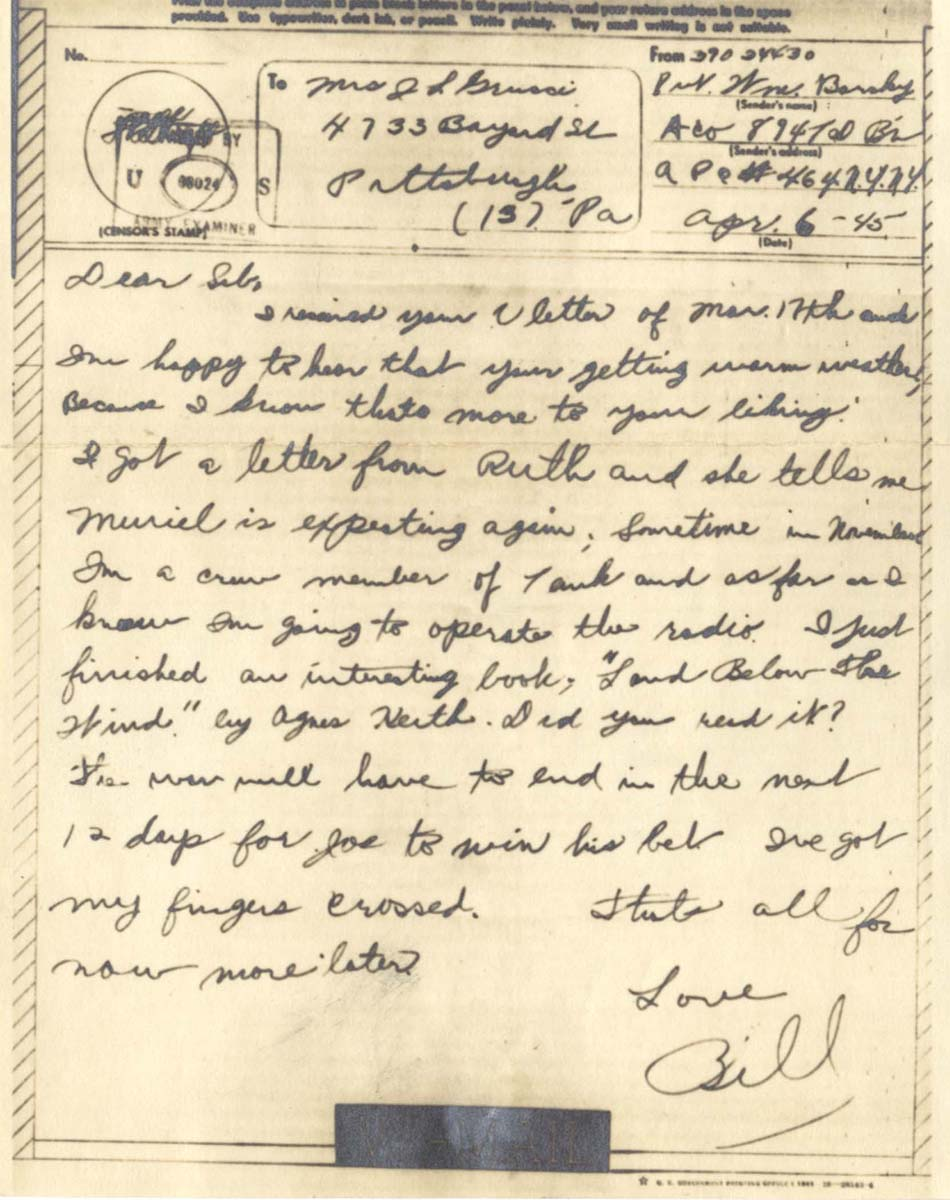 William Barsky's final letter to his sister, dated April 6, 1945. William Barsky Collection, Rauh Jewish Archives at the History Center.