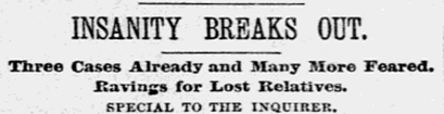 Newspaper clipping, Philadelphia Inquirer, June 8, 1889.