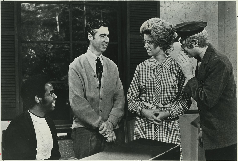 Mister Rogers with Mr. and Mrs. McFeely in Clemmons' music studio, May 4, 1972. | Heinz History Center