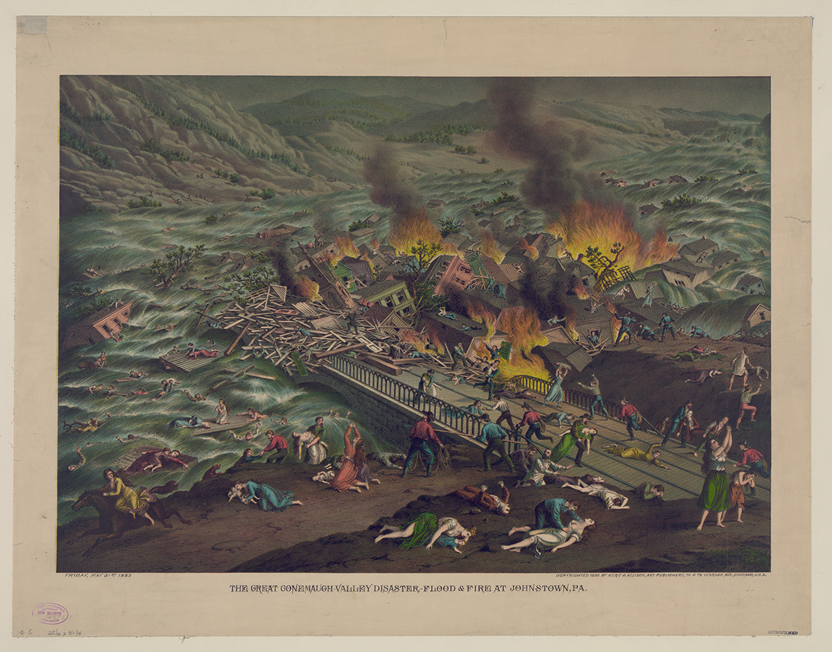 The Great Conemaugh-Valley Disaster, lithograph by Kurz & Allison, c. 1892. Library of Congress.