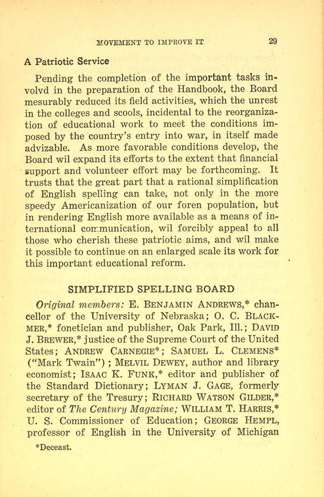 List of original Simplified Spelling Board members from the Handbook. Notice the t instead of ed at the end of deceast. From the Internet Archive.