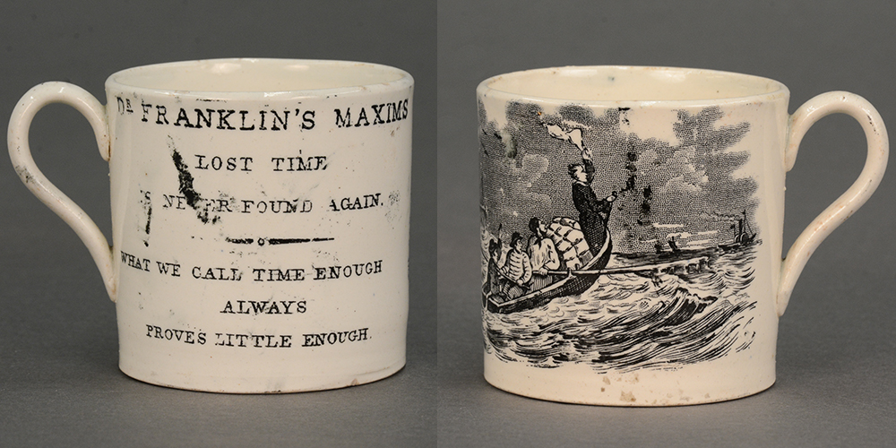 Child's mug with Benjamin Franklin's maxim about time, c. 1830.