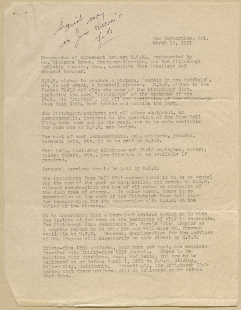 Memorandum of agreement between MGM and the Pittsburgh Pirates, dated March 14, 1951. Library of Congress, Branch Rickey Papers.