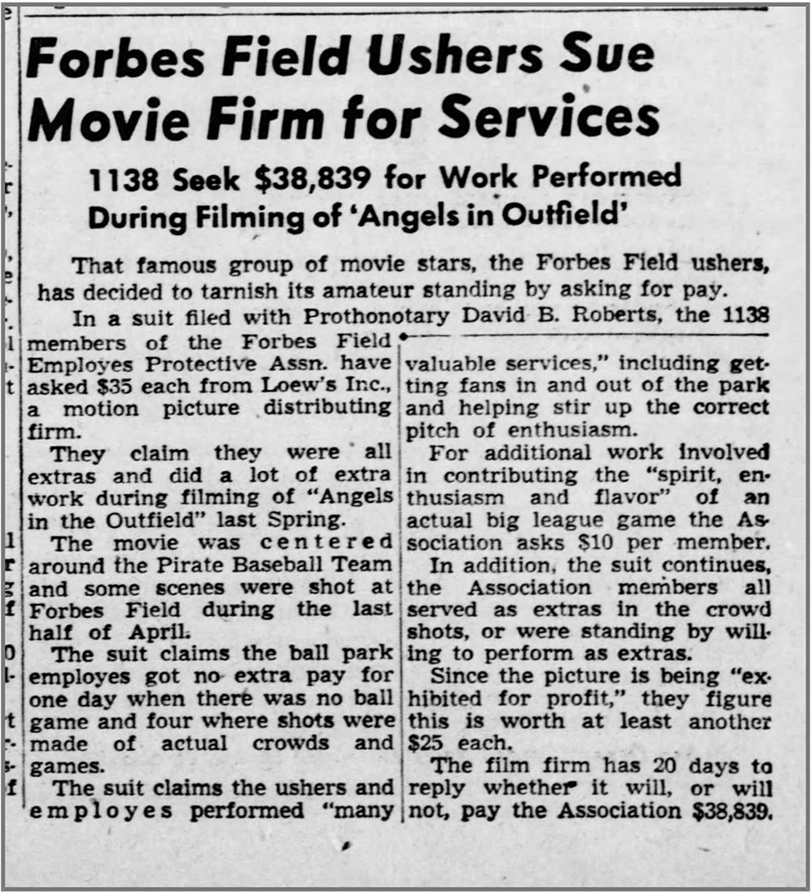 Newspaper article from the Pittsburgh Press describing the law suit between the Forbes Field ushers and the Loew's motion picture distribution company, dated December 7, 1951.