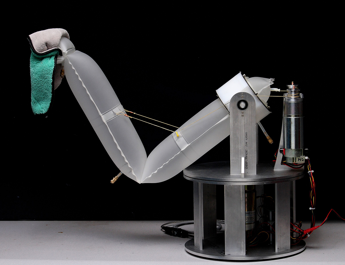 Inflatable soft-robotics arm, designed by Carnegie Mellon University's Robotics Institute. Photograph courtesy of Chris Atkeson.