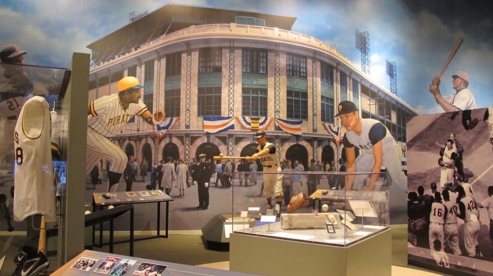 Mural of Forbes Field in the Western Pennsylvania Sports Museum, 2017.
