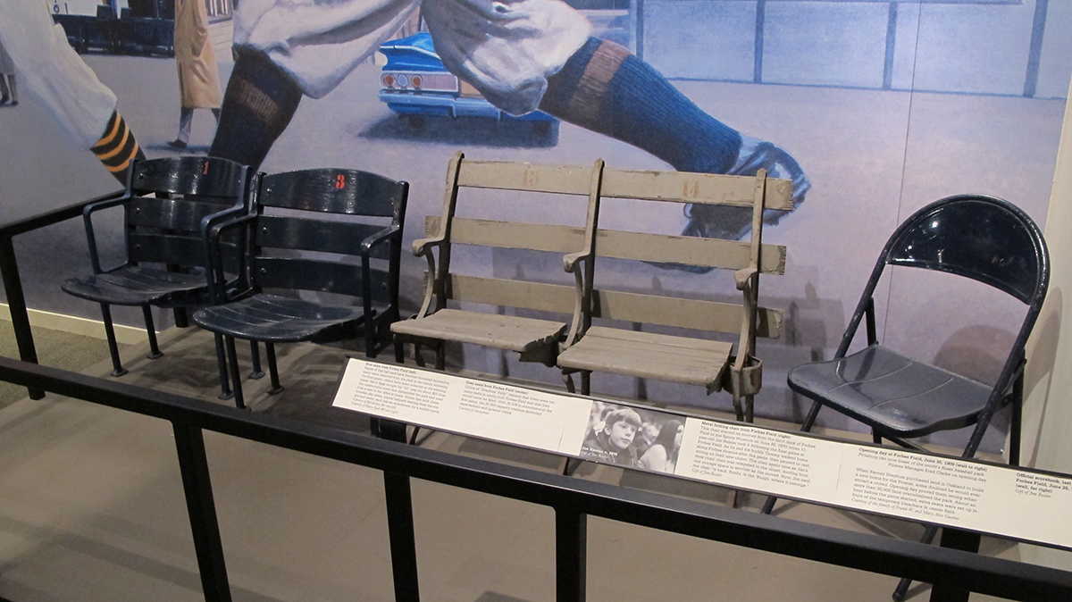 Original Forbes Field chairs on display in the Western Pennsylvania Sports Museum, 2017.