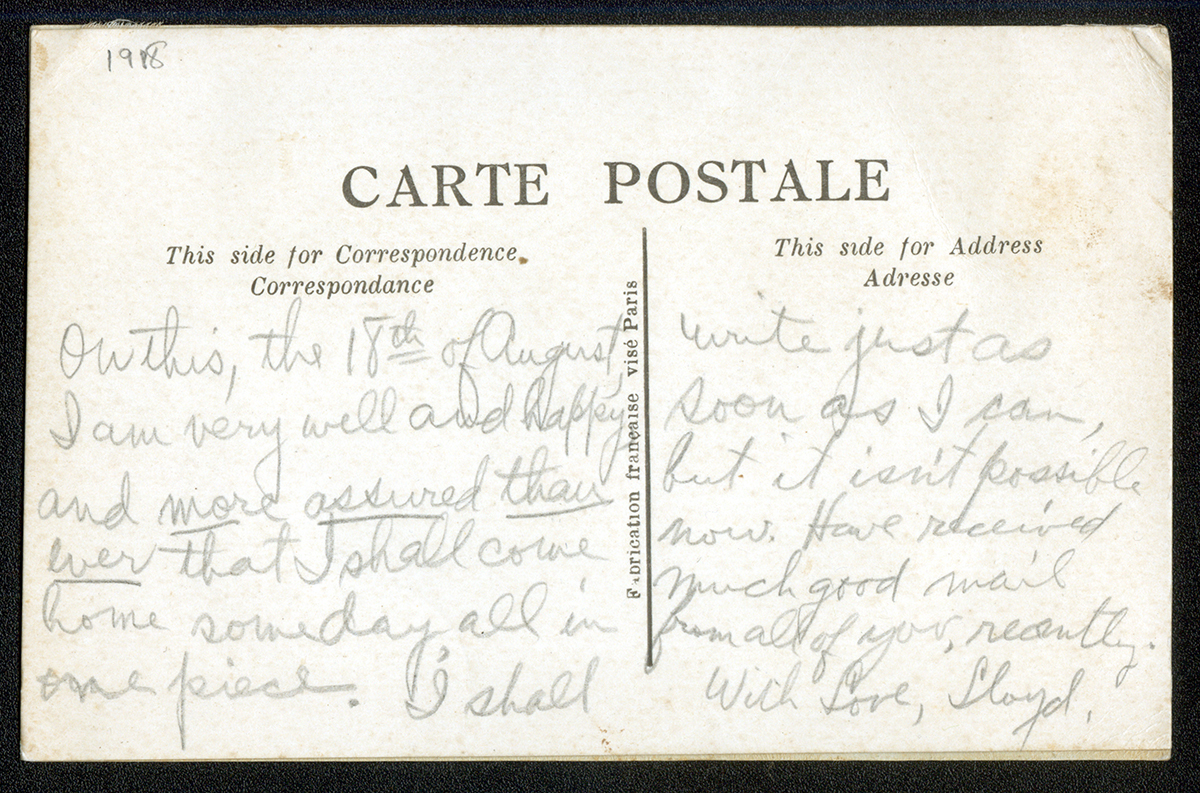 Back of postcard from France.