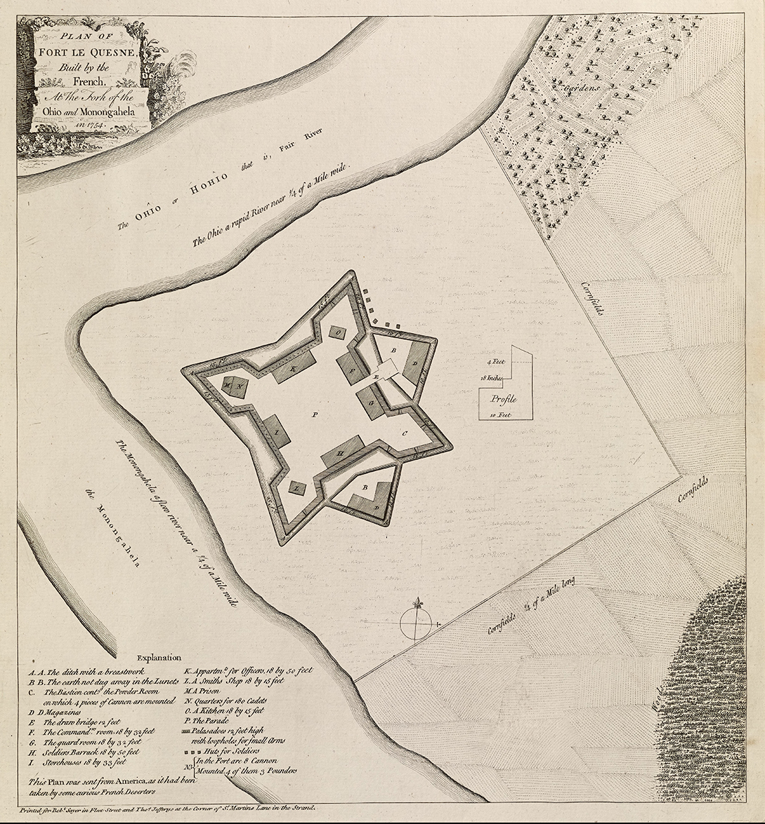 """""""Plan of Fort Le Quesne,"""" from a copy made in 1771. Map reproduction courtesy of the Norman B. Leventhal Map Center at the Boston Public Library."""