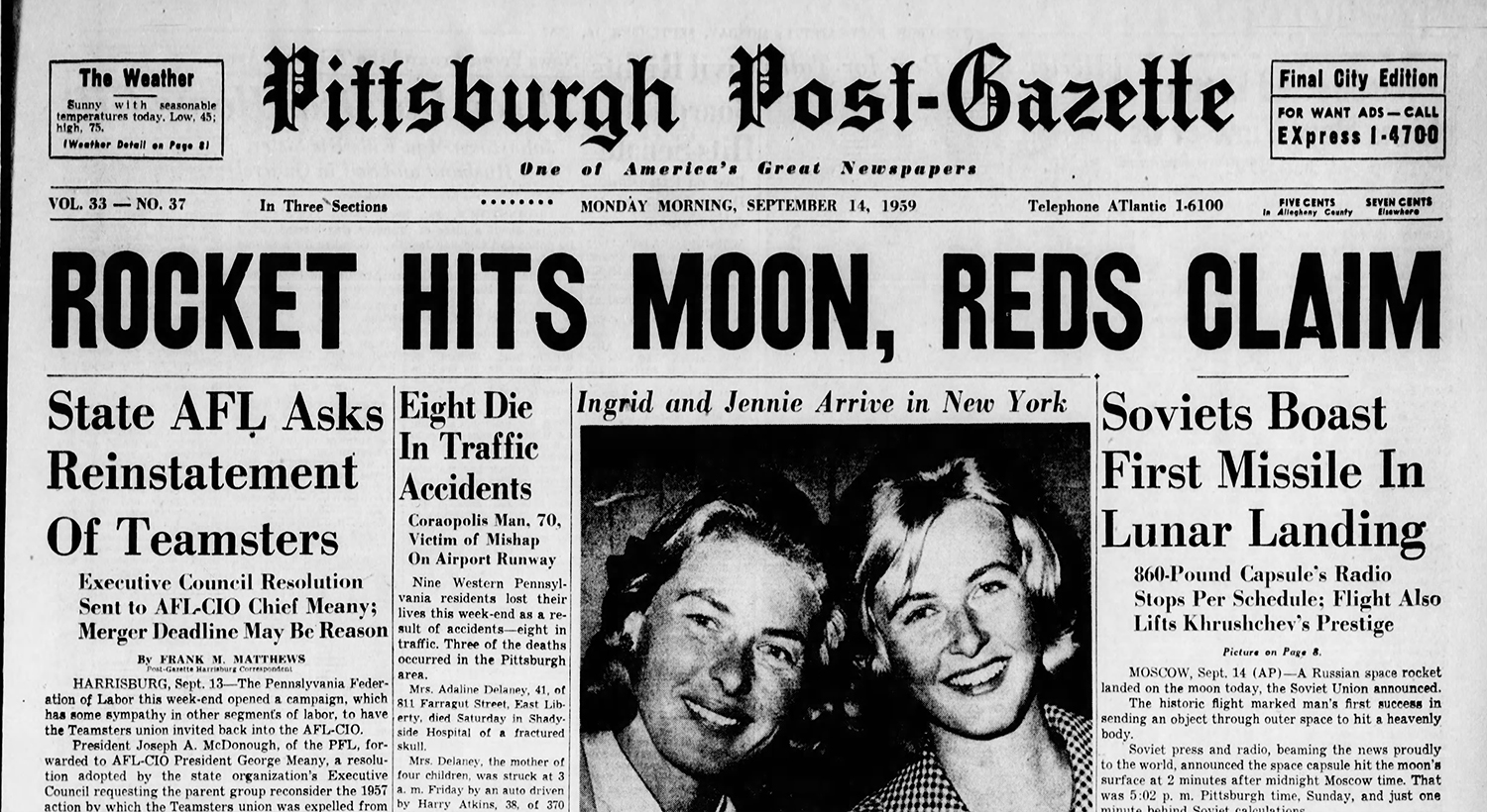 Newspaper headline on the morning of September 14, 1959. Pittsburgh Post-Gazette, September 14, 1959.