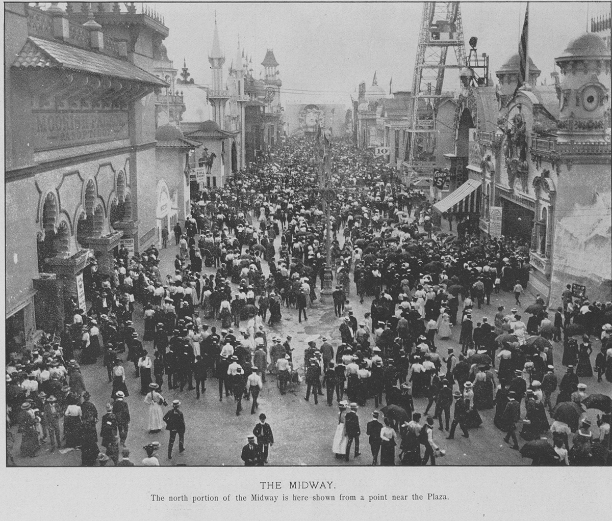"Crowds enjoy the midway at the Pan-American Exposition, 1901. ""A Trip to the Moon"" would have been somewhere on the right side of the row."