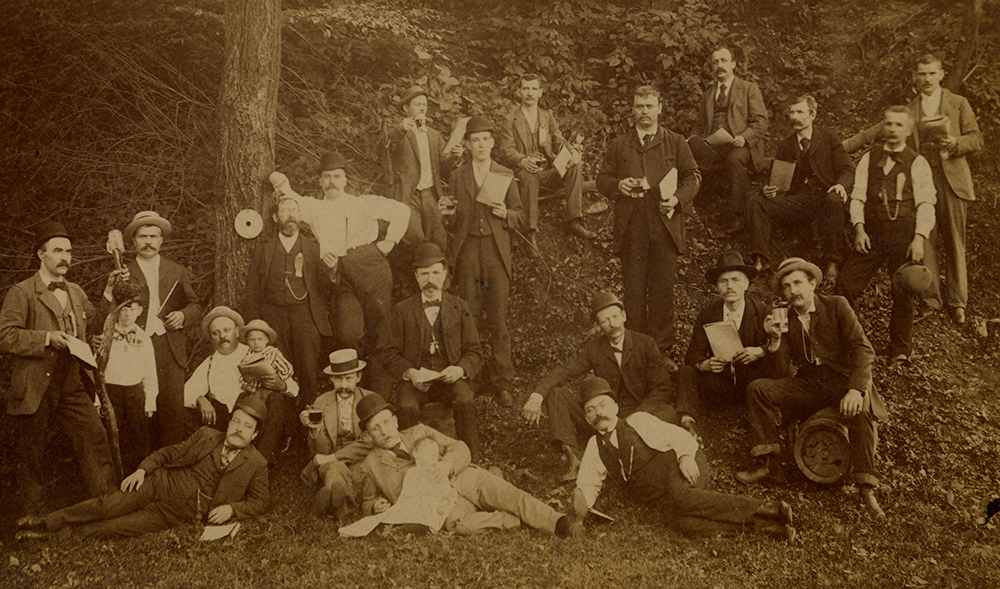 This German singing group relaxes with beer and sheet music in hand, c. 1890. Roberta Egelston, 2014.0112, Detre Library & Archives at the History Center.