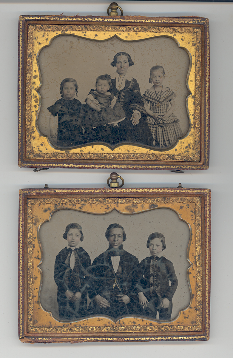 German Jewish immigrants Pauline Frank (top) and her husband William Frank (bottom) pose with their children, c. 1850s.