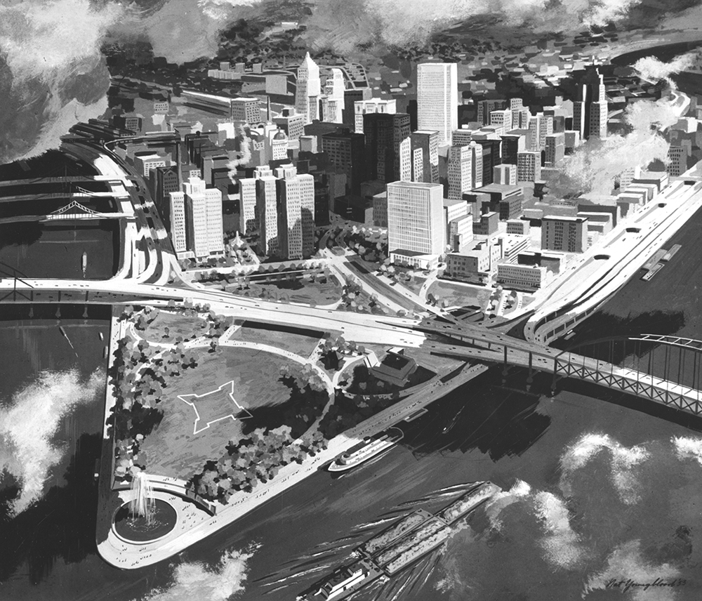 Pittsburgh artist and illustrator Nat Youngblood envisioned the Point without a hotel on Commonwealth Place. Allegheny Conference on Community Development Photographs, MSP 285, Detre Library & Archives at the History Center.