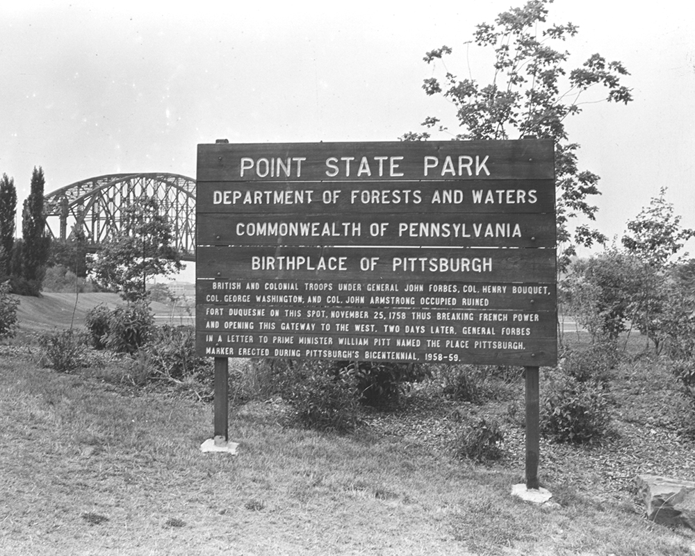 Original Point State Park sign. Allegheny Conference on Community Development Photographs, MSP 285, Detre Library & Archives at the History Center.