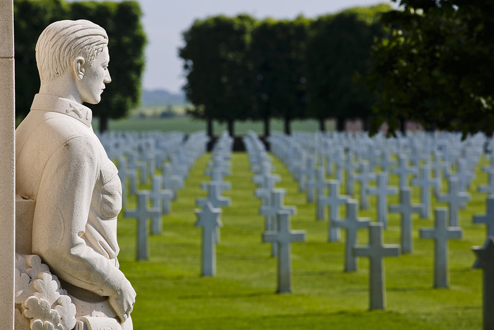 The doughboy statue looks out over the silent white crosses, row on row. Of the more than 7,000 Americans killed at St. Mihiel, 4,153 are buried here at Thiaucourt, while 284 were declared missing. Photo by Warrick Page/ABM.