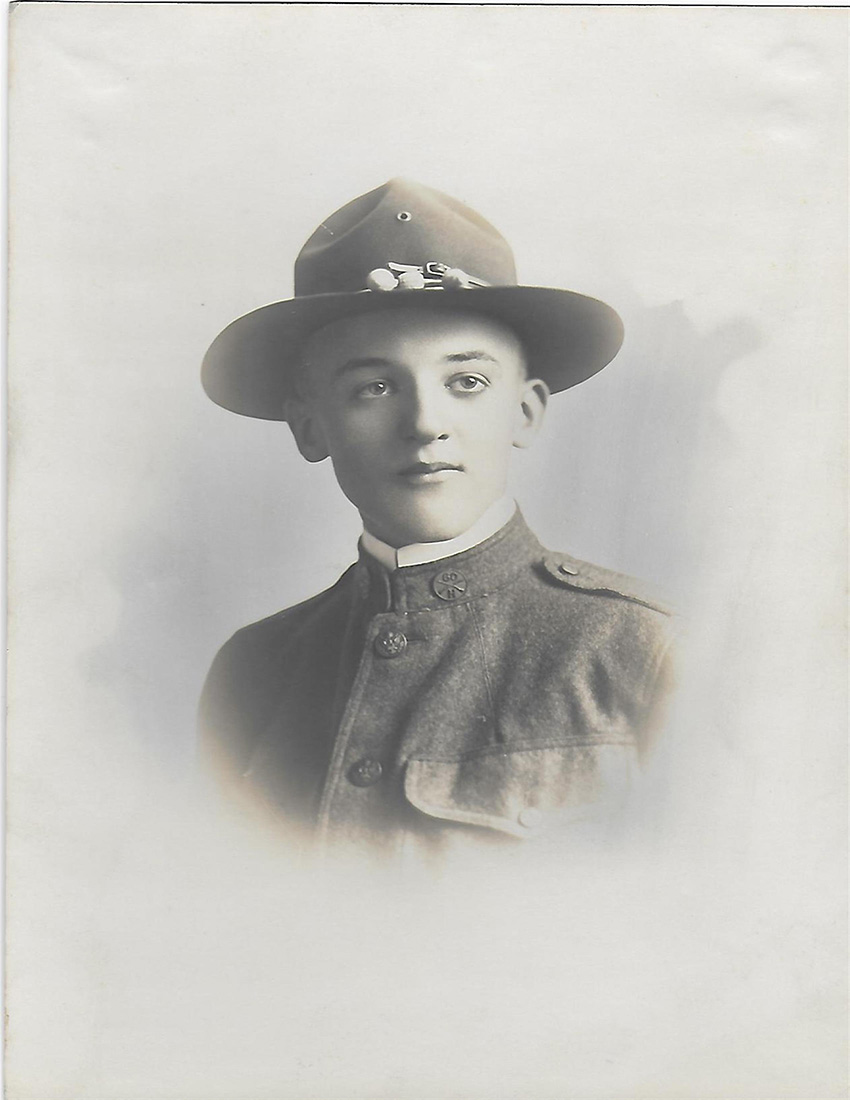 """Young Carl, the son of a German immigrant, went off to serve his country in the """"war to end all wars."""" He never returned. This picture of him at age 18 became his family's final view of him. Then, through three generations, he became an ancestral memory. Courtesy of Noretta Willig."""