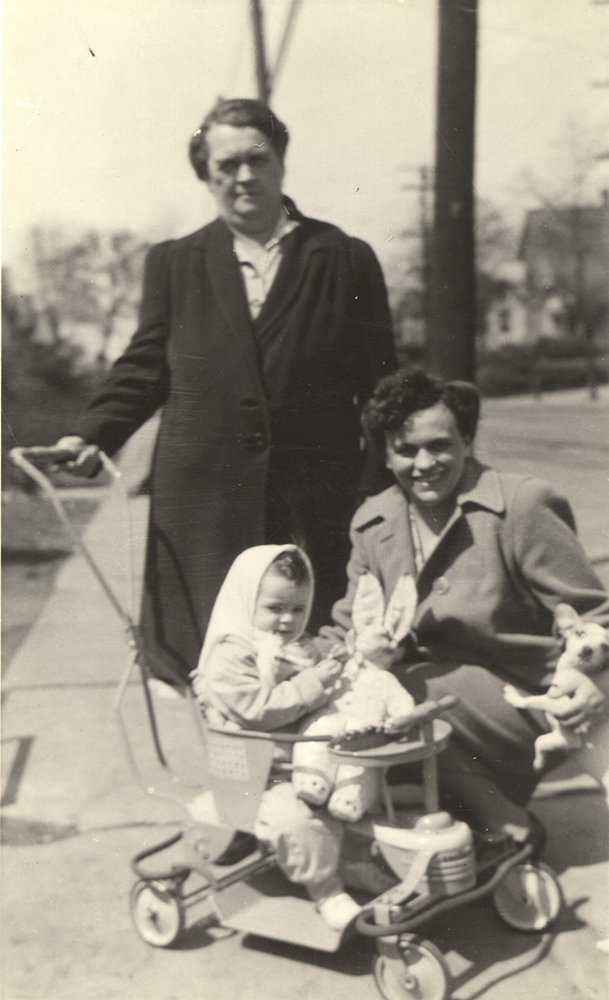 Theresa Findlay with her mother, grandmother, and the stuffed rabbit, c. 1944. Gift of Theresa Findlay.