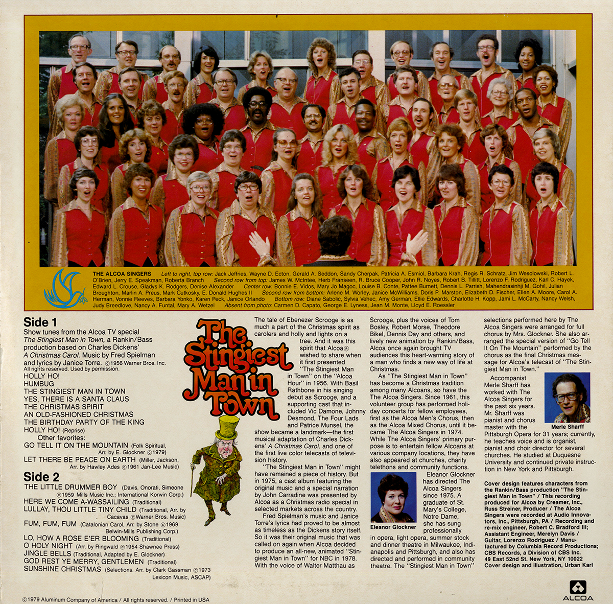 The Alcoa Singers pictured on the back of the Old-Fashioned Christmas album cover, 1979.