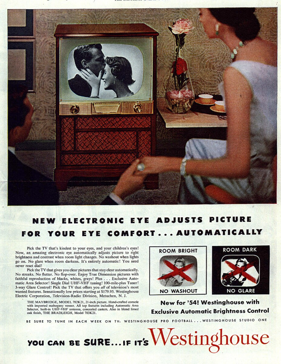 Advertisement for new Westinghouse television models, 1953-1954.