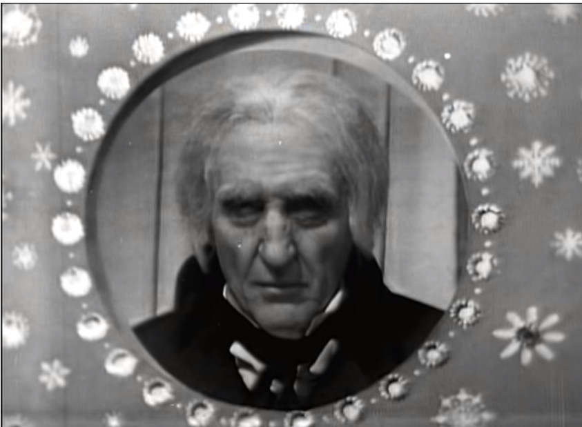 "The opening title card for Basile Rathbone as Scrooge in ""The Stingiest Man in Town,"" 1956. Screen capture from the surviving kineoscope."