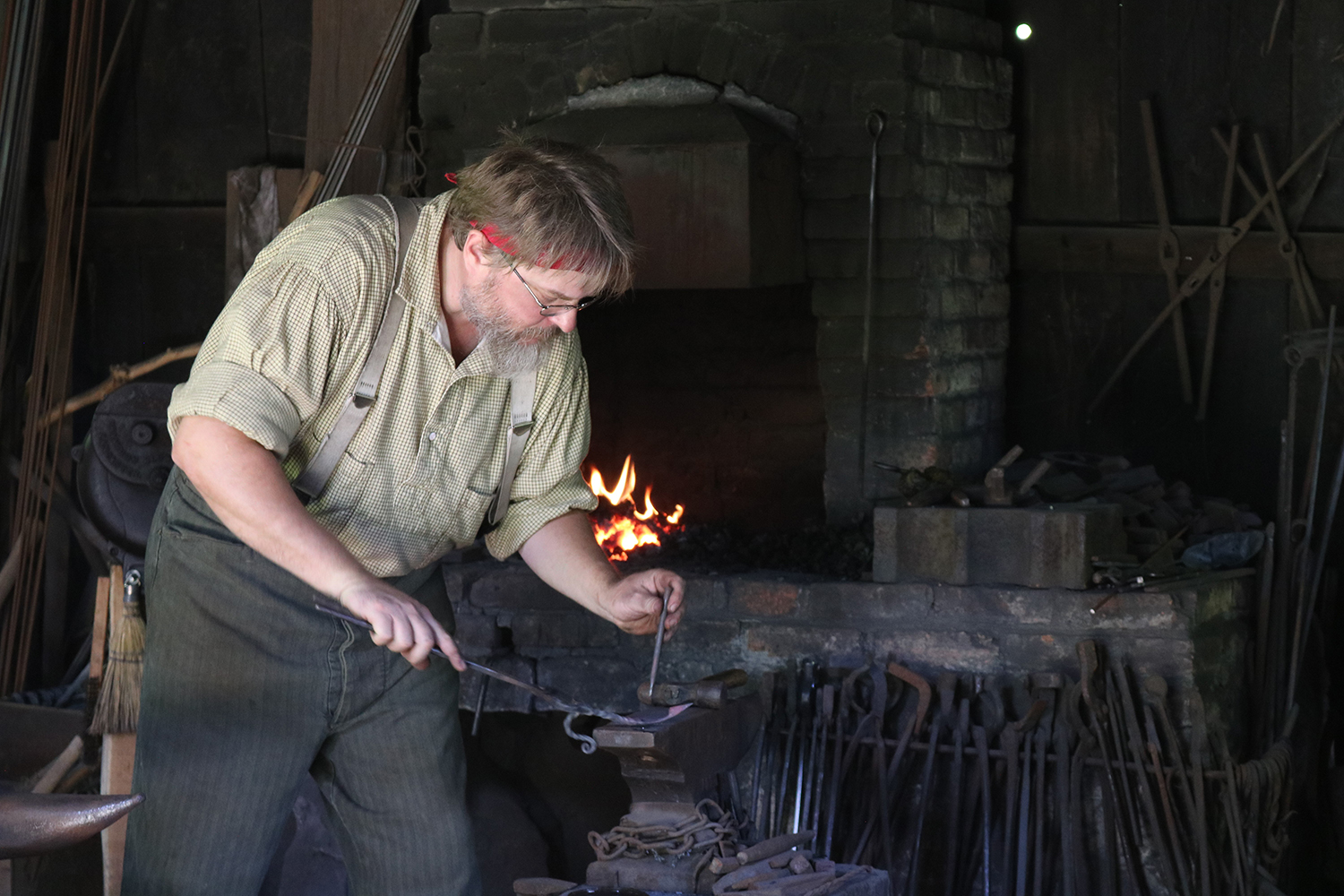 Blacksmith Dewayne Curry at Meadowcroft Historic Village